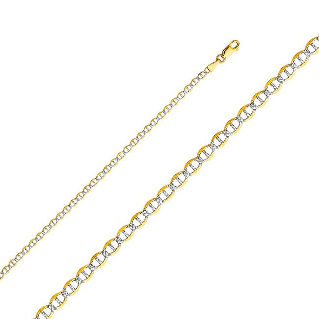"""Item - Yellow 14k Gold 3.4mm Flat Mariner Pave Chain - Ch339 - 24"""" Necklace"""
