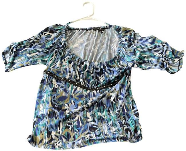 Item - Blue and Green Tones Pastel Cool Color Blouse Size 10 (M)
