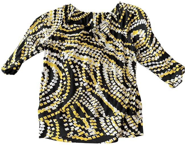Item - White Yellow and Black Office Blouse Size 6 (S)