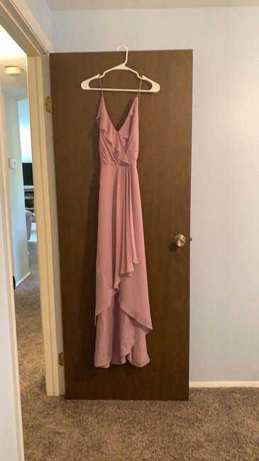Item - Dusty Rose Mauve Polyester Ruffled Wrap High Low Maxi (Jp1006) Formal Bridesmaid/Mob Dress Size 10 (M)