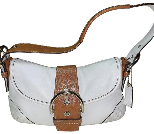 Item - Shoulder Soho Small Buckle Flap #9247 White & Brown Leather Hobo Bag