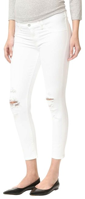 Item - White Distressed Maternity Mama Skinny Jeans Size 4 (S, 27)