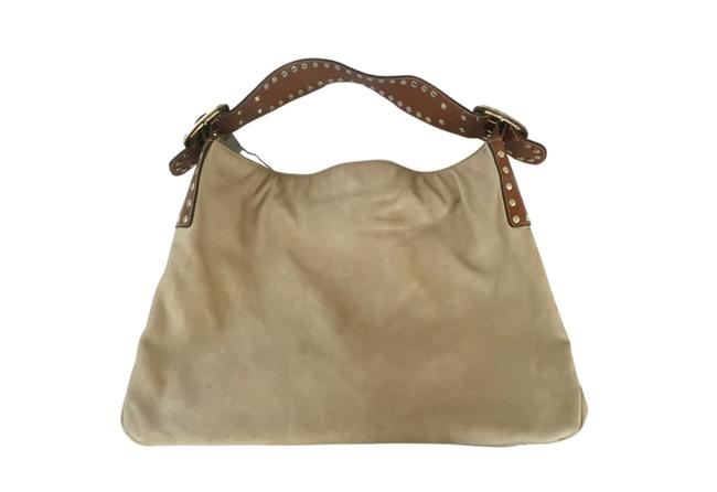 Item - Excellent Condition Large Light Soft with Gold Studs Tan Lambskin Leather Tote
