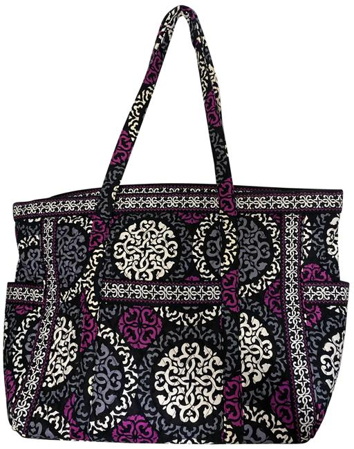 Item - Bag Quilted Black Purple White Fabric Tote