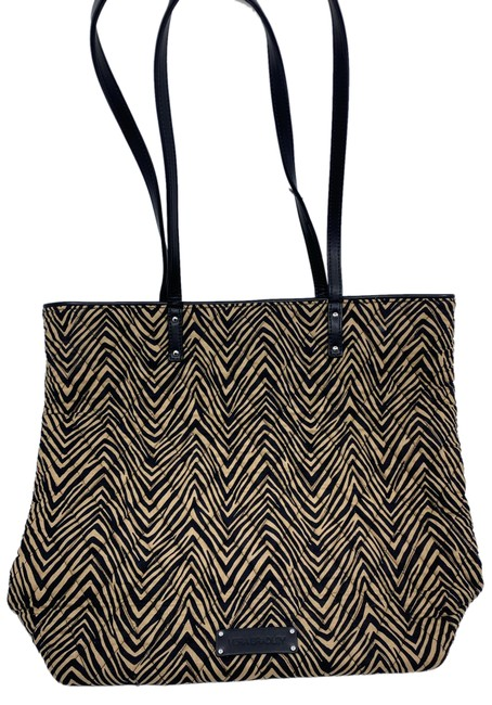 Item - Bag Large Quilted Black Beige Fabric Tote