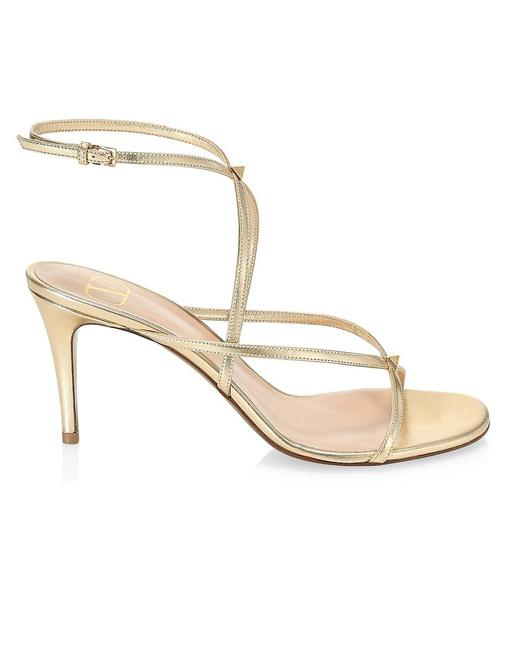 Item - Gold Ankle-wrap Metallic Leather Sandals Size EU 38.5 (Approx. US 8.5) Regular (M, B)