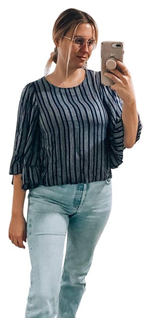 Item - Blue Striped 3/4 Bell Sleeve Small Blouse Size 6 (S)