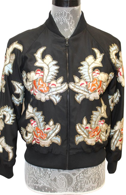 Item - Multicolored Beaded Embroidered Bomber Zip Front Coat Jacket Size 2 (XS)