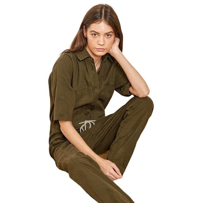 Item - Olive Part Of The Game Button-front Romper/Jumpsuit