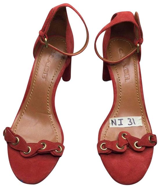 Item - Red Heel with Link In Suede Sandals Size US 6 Regular (M, B)