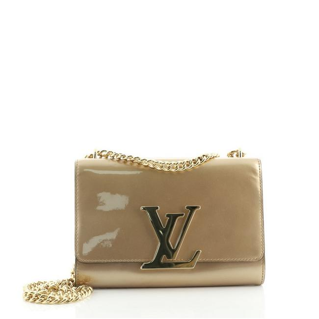 Item - Clutch Chain Mm Gold Neutral Leather Patent Leather Cross Body Bag