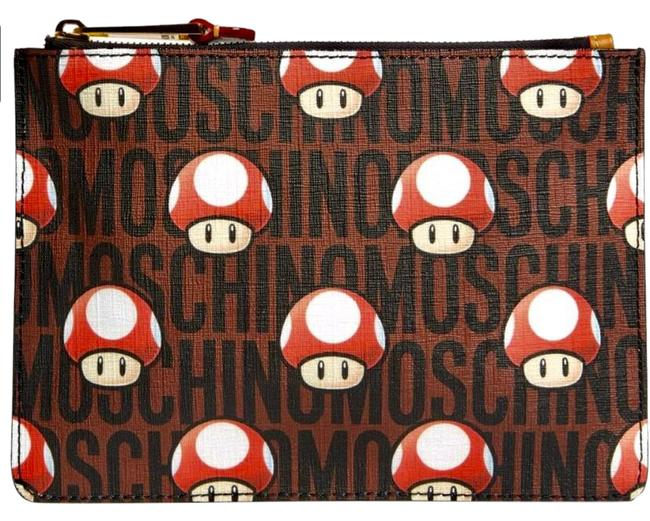 Item - Limited Edition Jeremy Scott X Nintendo Super Mario Bros. Mushroom Top Zip Brown Black Red Coated Canvas Clutch