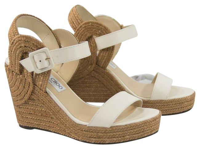 Item - Ivory Delphi Latte Leather Espadrille Platform Sandals Wedges Size EU 39.5 (Approx. US 9.5) Regular (M, B)