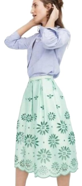 Item - Green Pleated Eyelet Mint H7378 Skirt Size 6 (S, 28)