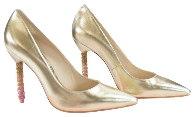 Item - Gold Ombre Coco Leather Crystal Encrusted Heels Pumps Size EU 37 (Approx. US 7) Regular (M, B)