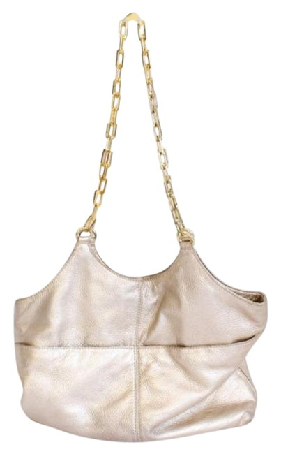 Item - Chain Gold Pebbled Leather Tote