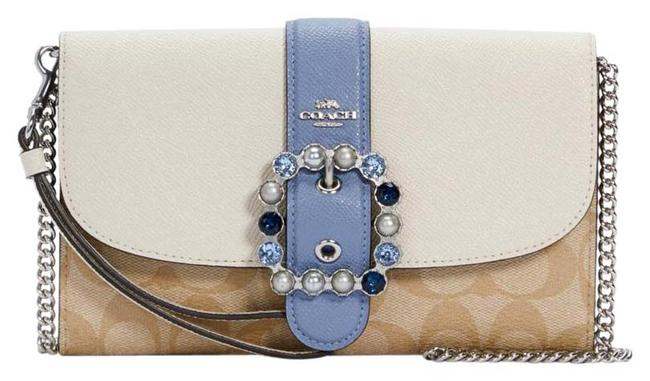 Item - Crossbody C1484 Gemma In Colorblock Signature Canvas Chalk/Light Khaki Multi Pvc Clutch