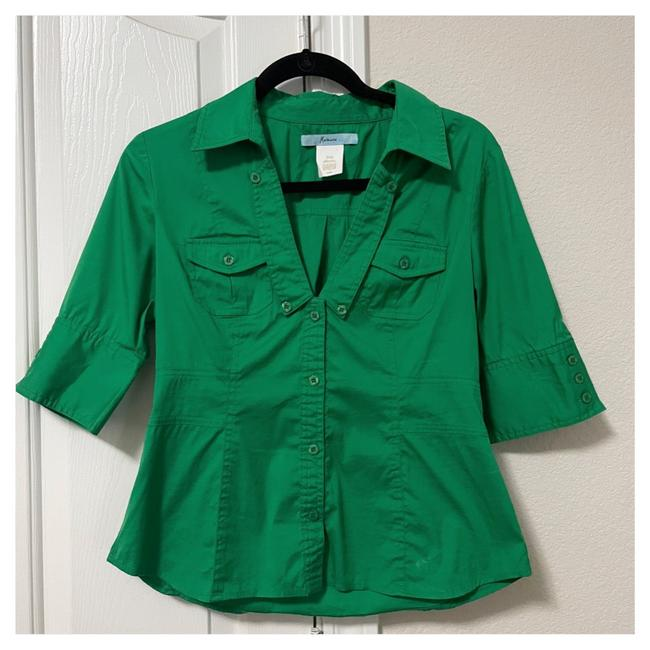 Item - Green Button-down Top Size 8 (M)