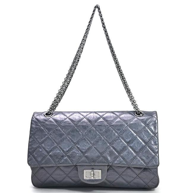 Item - 2.55 Reissue Double Flap Chain Matrasse Ladies Silver Gray Leather Shoulder Bag