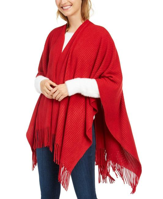 Item - Red Ribbed-knit Ruana Blanket Scarf Poncho/Cape Size OS (one size)