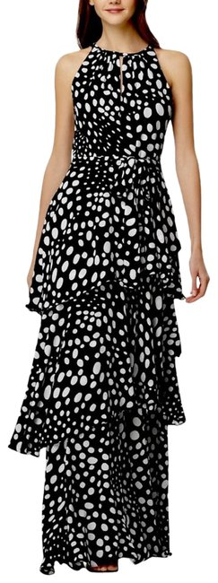 Item - Black Asl Sleeveless Printed Tiered Gown Long Formal Dress Size 14 (L)