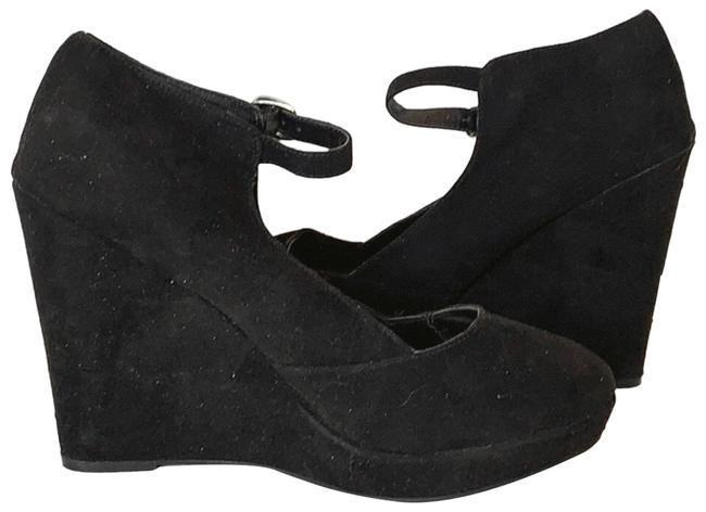 Item - Black New Suede Platform Ankle Wedges Size US 9 Regular (M, B)