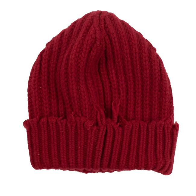 Item - Red Distressed Ribbed Knit Beanie Hat
