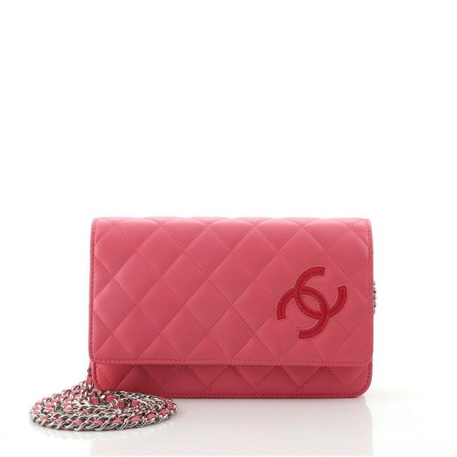 Item - Wallet on Chain Cc Quilted Lambskin Pink Leather Cross Body Bag