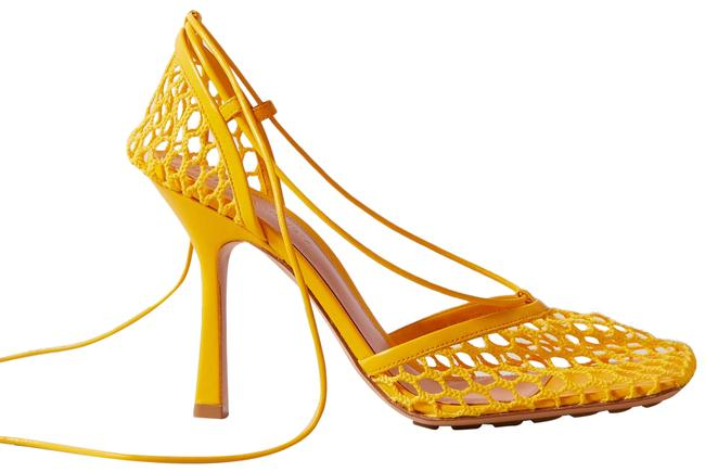 Item - Bright Yellow Lace-up Leather-trimmed Mesh Pumps Size EU 42 (Approx. US 12) Regular (M, B)