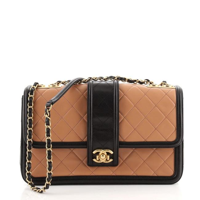 Item - Classic Flap Elegant Cc Quilted Lambskin Jumbo Black Brown Leather Cross Body Bag