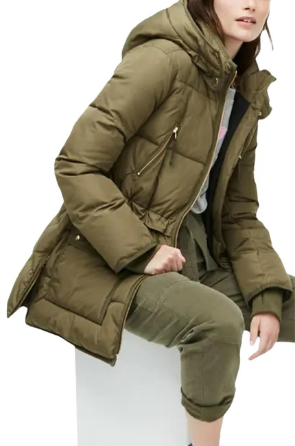 Item - Green Chateau Puffer Jacket Long Hooded Winter Olive Large Coat Size 12 (L)