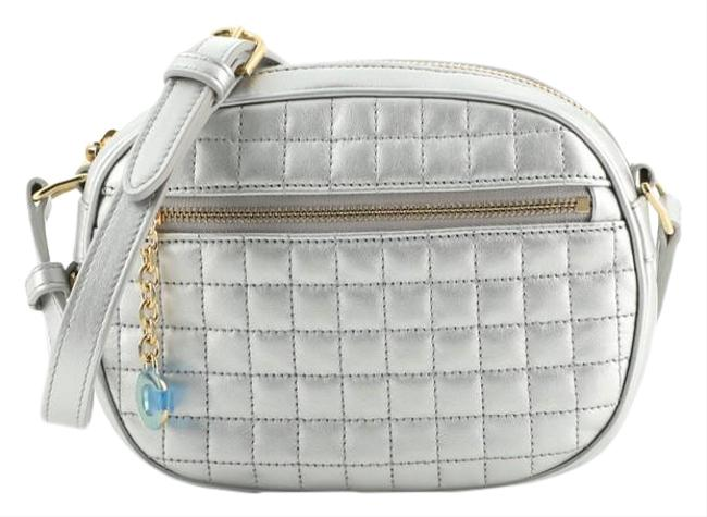 Item - Camera C Charm Quilted Small Metallic Silver Leather Cross Body Bag
