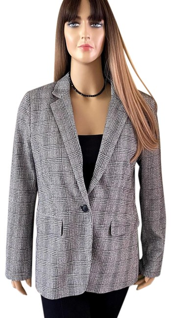 Item - Black and White & One Button Notched Lapel Houndstooth Plaid Blazer Size 12 (L)