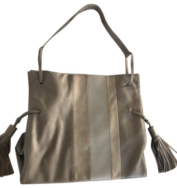 Item - Suede Detail Taupe with Grey Soft Smooth Leather Tote