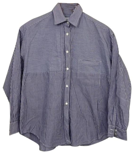Item - Blue And White Pinstripe Blouse Button-down Top Size 4 (S)