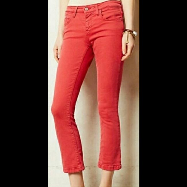 Anthropologie Red Medium Wash Pilcro and The Letterpress Stet In Reddish Coral Straight Leg Jeans Size 27 (4, S) Anthropologie Red Medium Wash Pilcro and The Letterpress Stet In Reddish Coral Straight Leg Jeans Size 27 (4, S) Image 2