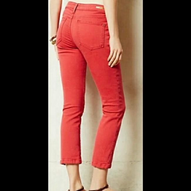 Anthropologie Red Medium Wash Pilcro and The Letterpress Stet In Reddish Coral Straight Leg Jeans Size 27 (4, S) Anthropologie Red Medium Wash Pilcro and The Letterpress Stet In Reddish Coral Straight Leg Jeans Size 27 (4, S) Image 3