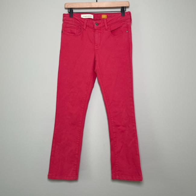 Anthropologie Red Medium Wash Pilcro and The Letterpress Stet In Reddish Coral Straight Leg Jeans Size 27 (4, S) Anthropologie Red Medium Wash Pilcro and The Letterpress Stet In Reddish Coral Straight Leg Jeans Size 27 (4, S) Image 4