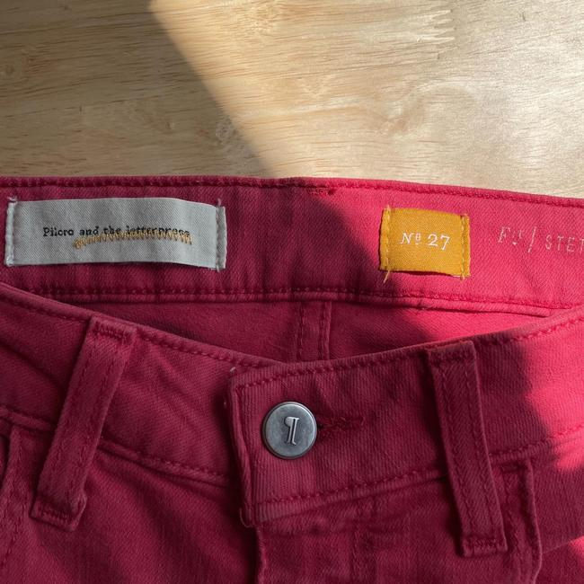Anthropologie Red Medium Wash Pilcro and The Letterpress Stet In Reddish Coral Straight Leg Jeans Size 27 (4, S) Anthropologie Red Medium Wash Pilcro and The Letterpress Stet In Reddish Coral Straight Leg Jeans Size 27 (4, S) Image 7
