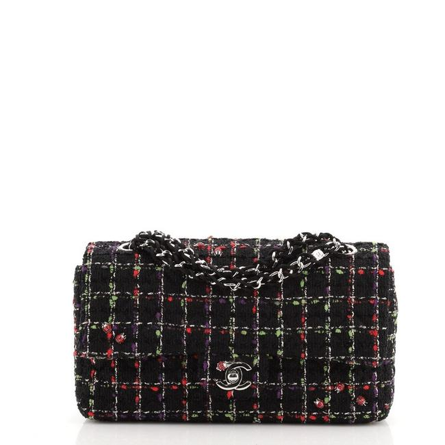 Item - Classic Flap Ladybug Medium Multi Color Black Tweed Shoulder Bag