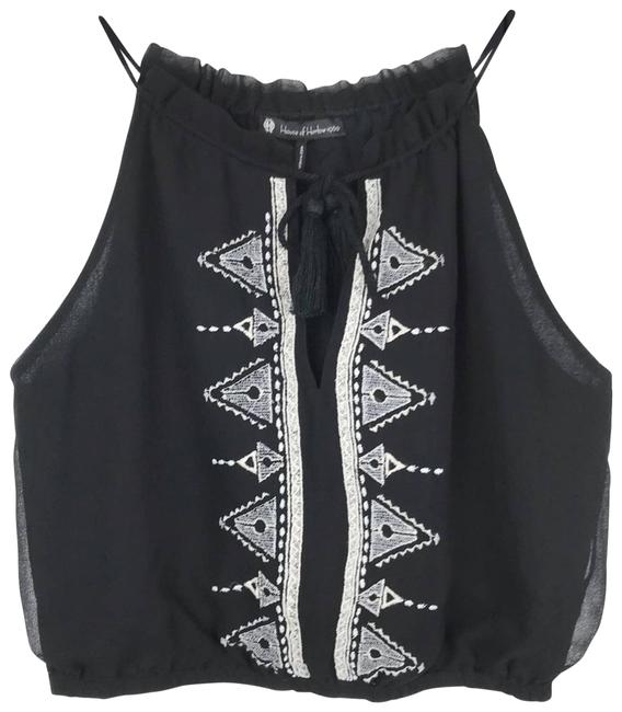 Item - Black Embroidered Crop Sm Tank Top/Cami Size 4 (S)