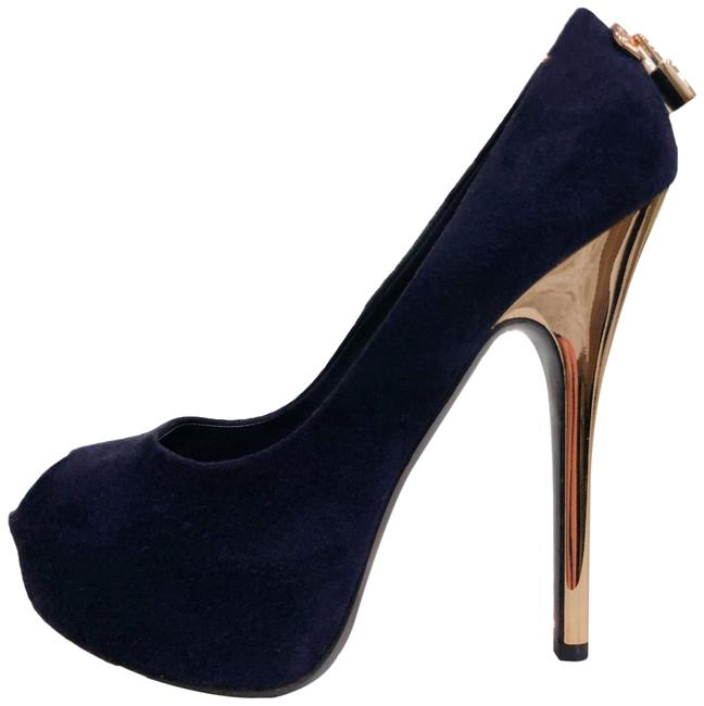 Item - Navy Blue Suede Gold Lock Peep Toe Platform Heels 37.5 Pumps Size US 7.5 Regular (M, B)