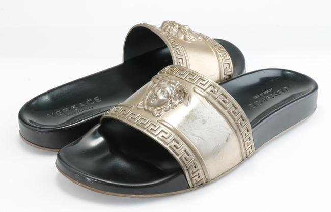 Item - Gold Medusa Metallic Pool Slides Shoes