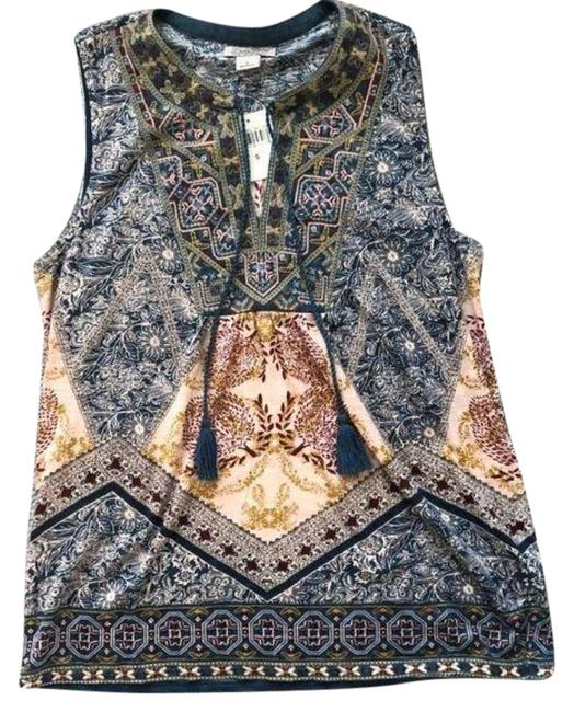 Item - Blue Cream Embroidered Sleeveless Blouse Size 4 (S)