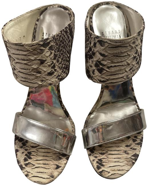 Item - Silver and Snake Embossed Stiletto Sandals Size US 7 Regular (M, B)