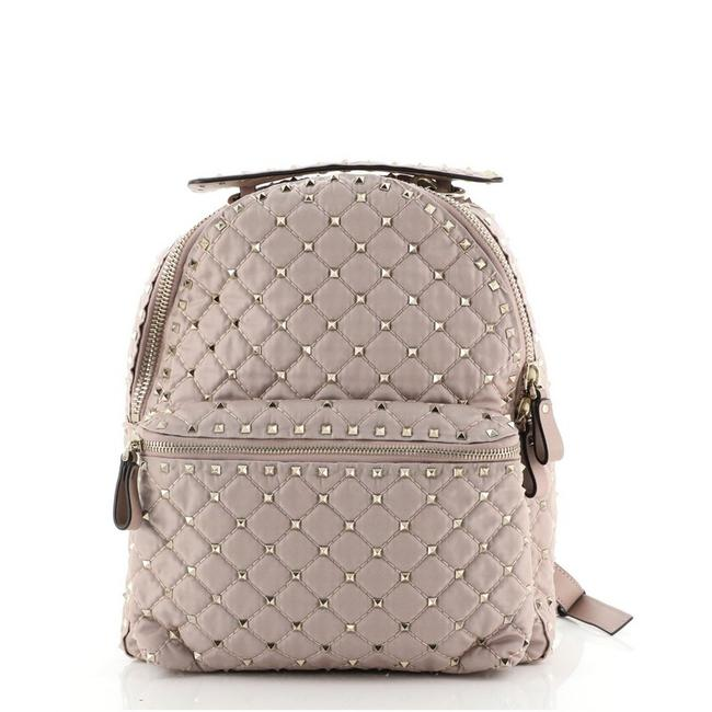 Item - Rockstud Spike Quilted Small Pink Nylon Backpack