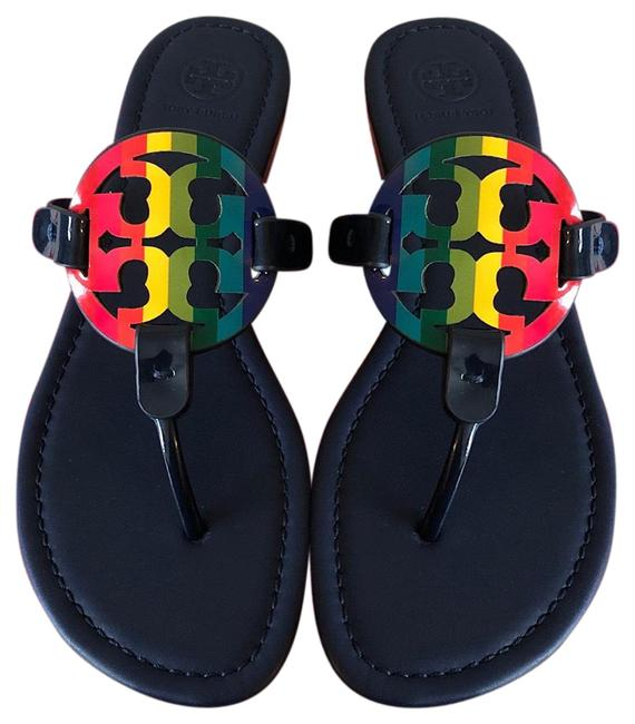 Item - Multicolor T Miller Leather Double-t Rainbow Print Sandals Size US 10 Regular (M, B)