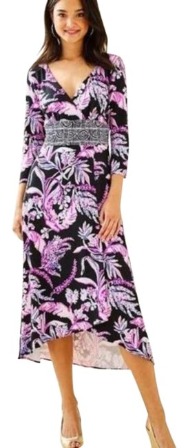 Item - Pink Black Fleuris Midi In Onyx Wild Within Engineered K Mid-length Casual Maxi Dress Size 12 (L)