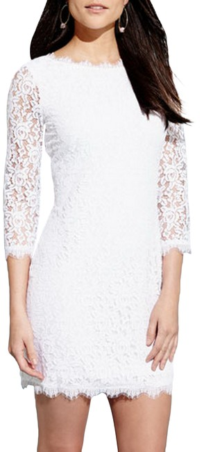 Item - White Dvf Colleen Lace Sheath Short Night Out Dress Size 10 (M)