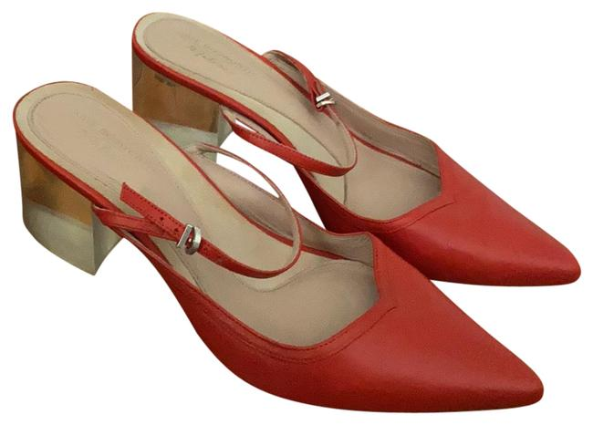 Item - Red Clear Heel Mary Jane Mules/Slides Size US 7 Regular (M, B)